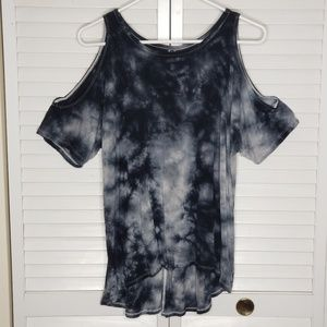 AE Soft & Sexy Tie Dye Cold Shoulder T-Shirt Sz XS